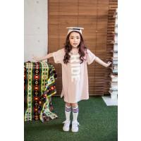 新款韩版女童字母短袖T恤裙儿童纯棉针织简约连衣裙