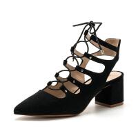 【限时3折】D:Fuse/迪芙斯夏季尖头后空绑带粗高跟凉鞋女鞋DF71111216