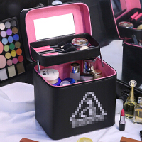 加高双层化妆包大容量便携护肤品收纳盒韩国简约大号化妆箱手提