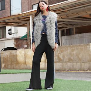 两三事远征者的考验2017冬装新款高腰喇叭裤女针织休闲宽松长裤S17DKZ008