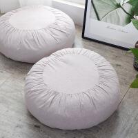 【人气】媲美 日式简约素色棉麻布艺蒲团垫榻榻米垫沙发懒人坐垫椅子垫板凳垫 直径约45cm