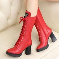 娜箐箐秋冬新款真皮女靴长靴高跟鞋粗跟防水台时尚中筒女鞋靴