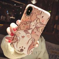 猫咪卡通手机壳苹果xsmax防摔iphone7plus女款8/6可爱xr壳 i6/6s 蚕丝 伸爪猫咪满屏