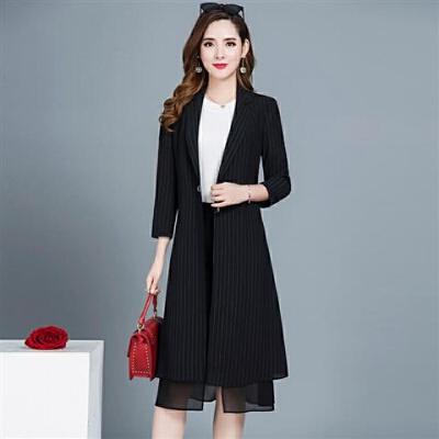 风衣女中长款韩版春秋季2019女装九分袖翻领时尚气质轻薄外套 黑色