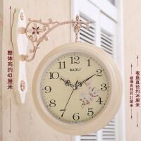 两面挂钟 天蓝双面挂钟欧式创意表客厅静音田园时钟表两面个性时尚现代简约挂表 欧式简约 - 米黄 16英寸(直径40.5