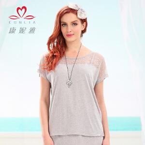 【专柜同款】康妮雅夏装便服 女 性感优雅蕾丝边短袖上衣