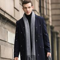 围巾男士秋冬季纯色保暖仿羊绒围巾英伦风围脖顺滑触感