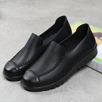 春秋妈妈鞋单鞋平跟软底中老年皮鞋女平底老人鞋休闲中年女鞋 黑色 6017妈妈单鞋