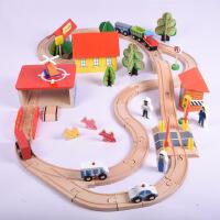 出口原单 69片木制百变托马斯轨道车 电动轨道火车儿童玩具
