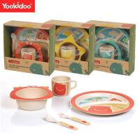 儿童餐具 卡通动物竹纤维碗筷勺套装 婴幼儿喂养餐具组合