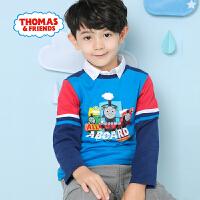 【一件5折】托马斯正版童装男童春装全棉印花撞色拼接长袖T恤打底衫儿童纯棉上衣