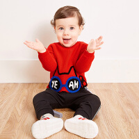 【限时2件4折】迷你巴拉巴拉婴儿绣花毛衣秋新款童装男女新生儿宝宝纯棉线衫