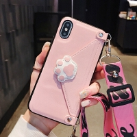 max猫爪手机壳xs背带斜跨苹果x零钱包6卡包一体8plus背包iphone7p 6/6s 粉色猫爪斜跨