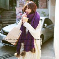 秋冬季韩国版围巾披肩两用格子女士针织毛线加厚流苏保暖围脖冬天