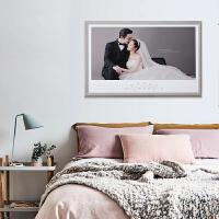 婚纱照水晶相框高端影楼结婚照放大挂墙摆台组合制作做相框加照片 双层木纹边框 水晶照片 精美花饰