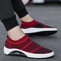 夏季韩版潮流男鞋夏季跑步男士运动休闲套脚低帮懒人袜子全黑色潮鞋