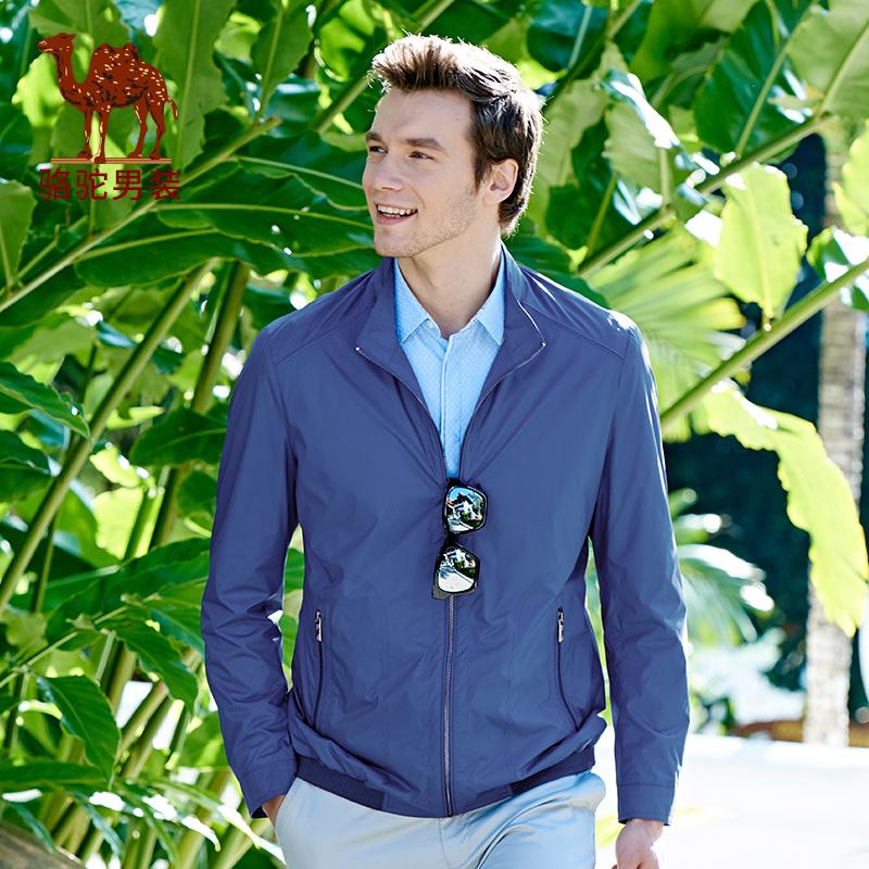 骆驼男装 新款时尚立领商务休闲夹克衫青年纯色男士外套