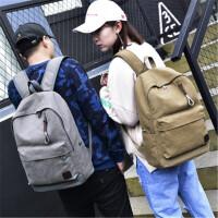 茉蒂菲莉 双肩包 男士时尚潮流休闲帆布背包复古旅行包高中学生书包男