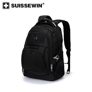 【SUISSEWIN旗舰店 支持礼品卡支付】男士休闲双肩包商务电脑包中学生背包大容量多功能包包