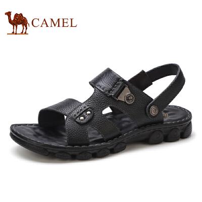 骆驼牌 男凉鞋 新品舒适露趾清凉鞋柔软牛皮休闲男鞋