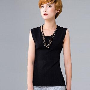 灏领衣尚夏装女针织无袖背心女外穿紧身圆领针织衫黑色短款薄上衣