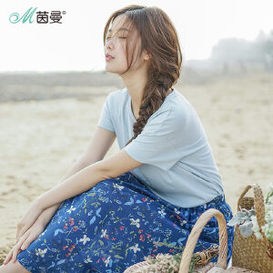 茵曼夏装新款纯棉净色圆领百搭短袖T恤女【1882022722】