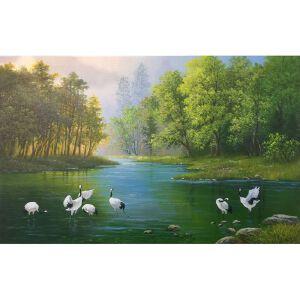 朝鲜油画 一级画家 赵恩然《悠然》【大千艺术品】