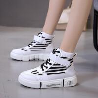 新款休闲鞋小白鞋高帮女鞋运动鞋女学生百搭韩版潮鞋女板鞋子 格林 660黑色