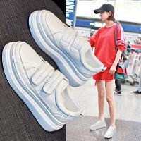 夏季流行女鞋 魔术贴小白鞋女松糕厚底女板鞋女学生鞋增高鞋 白色