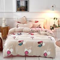 冬季保暖双面加厚雪花绒床上四件套网红款床单被套法兰绒珊瑚绒床品套件