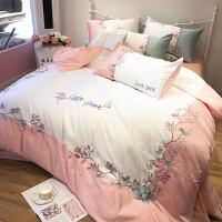 床上四件套大气欧式绸缎冰丝床单公主风1.8m米床被套 粉色 芳华YHG 2.0m宽床(被套配220*240cm) 床单