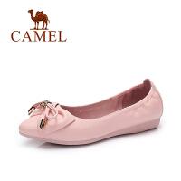 Camel/骆驼女鞋 春季新款 韩版浅口蝴蝶结尖头舒适低跟单鞋女