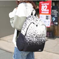 新品时尚潮流日韩版帆布涂鸦双肩包初中高中校园学生背包