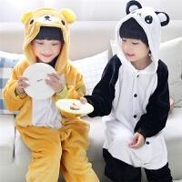 男童女童学生演出服长袖儿童连体睡衣可爱熊猫法兰绒卡通动物秋冬