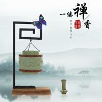 泥印新款创意个性仿古茶道盘香炉倒流香薰炉茶室桌面摆件四季平安