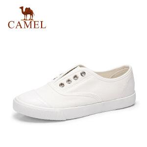 骆驼牌女鞋 2017春季新款低帮帆布鞋女学生韩版小白鞋