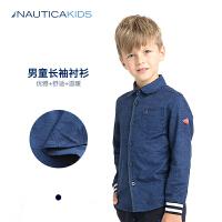 诺帝卡童装男童长袖衬衫秋季新品儿童翻领衬衫印花衬衫