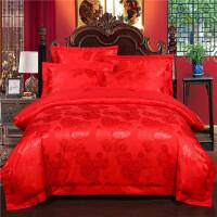 结婚用床上四件套纯棉欧式红色婚庆床品大红喜庆婚房喜被床上用品