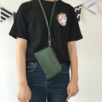 挂绳挂脖手机包零钱包韩国钥匙卡包手拿迷你小包 挂脖手机包 墨绿