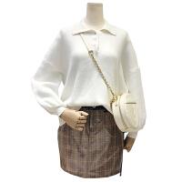 秋冬新款大码胖mm胖妹妹polo领套头毛衣拼接格子牛仔半身裙套装