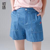 初语女装新款小花伞纯棉刺绣牛仔休闲直筒裤宽松短裤女夏