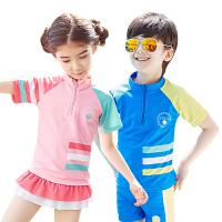 kk树新款儿童泳衣男童女孩分体中大童防晒速干游泳衣女童泳装