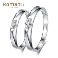Romanti/罗曼蒂钻石情侣对戒指18K白金结婚戒指正品求婚对戒女戒 需定制