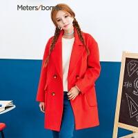 美特斯邦威毛呢外套女秋冬装西装式含羊毛廓形韩版大衣239792