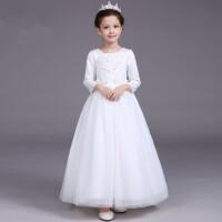 公主裙女童礼服长裙花童裙儿童婚纱裙长袖晚礼服演出表演服