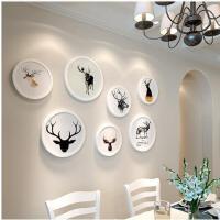 照片墙夹子 悬挂 无痕钉现代简约相片墙创意客厅圆形相框挂墙组合