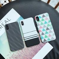 线条几何iphone6s苹果7plus手机壳ip6半包硬壳iPhong7/8保护套X潮女pg7pls 6/6S 线条白