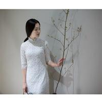原创清新文艺复古素雅蕾丝旗袍 中国风棉麻蕾丝旗袍 两色入GH026 白色 4.5号发货
