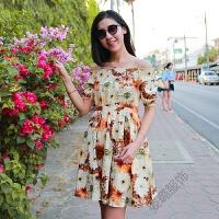 夏季波西米亚露肩一字领短袖棉麻连衣裙海边度假沙滩裙短裙女 图片色