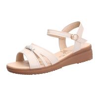 大东同款同款2019凉鞋女夏中跟坡跟平底女士中年妈妈软底牛筋底大码42